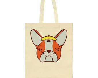 French Bulldog With Beret Mustache Tote Bag