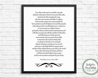 Walt Whitman Quote Wall Art, Walt Whitman Poetry Printable, Instant Download, Poetry Printable, Leaves of Grass, Poetry Art, Gift for Poet