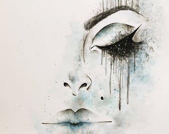 Original Abstract Ink & Watercolour Illustration