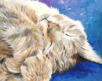 "Sleeping Cat Art Print of Oil Painting - 8 x 8"""