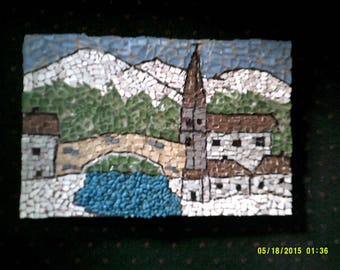 painting micro-mosaic d a mountain village.
