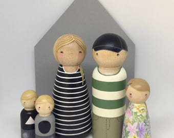 Custom Peg Doll Family of 5 // 2 Adults, 3 Children