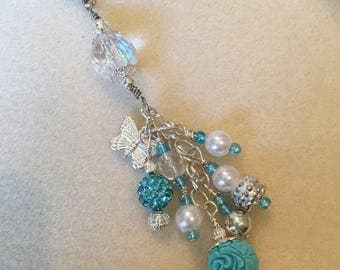 Purse charm in turquoise, pearl and silver