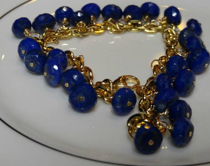 Lapis Lazuli Bracelet and earring set for her. Navy blue Lapis lazuli  and Citrine dangle drop earrings and bracelet wrapped in gold.