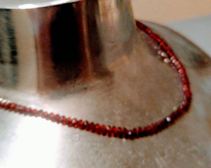 Garnet choker, Garnet bead necklace, red Garnet necklace, gift for Christmas, gift for her, petite red choker.