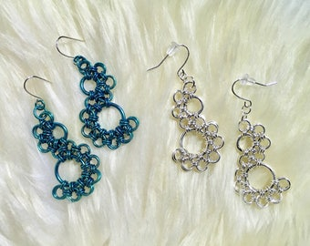 Lacey ~ Handwoven Chain Maille Earrings