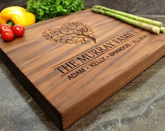"Personalized Chopping Block 12x15x1.75"" - Engraved Butcher Block, Custom Chopping Block, Housewarming Gift, Anniversary, Family Tree #37"