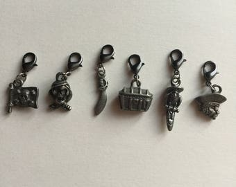 Knitting Progress Keepers | Knitting Stitch Markers | Pirate Progress Keepers | Pirate Charms