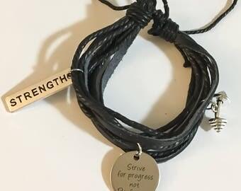 Layered Leather Bracelet, Charm Bracelet, Wrap Bracelet, Fitness Jewelry, Fitness Bracelet, Motivation, Gym Jewelry, Barbell Charm, Strength