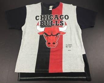 Vintage 90s Chicago Bulls striped t-shirt mens L NBA Basketball