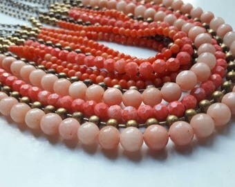 VINTAGE Multi Strand Faux Coral Bead Necklace Fashion Jewelry Beaded Faux Coral Necklace  Glass Coral Seed Bead Necklace Pink Coral Jewelry