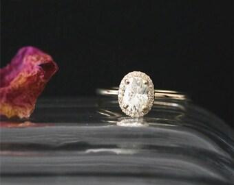 C&C 7*5mm Oval Cut Forever Brilliant Moissanite Engagement Ring Diamond Halo Ring Bridal Ring 14K Yellow Gold Anniversary Ring Plain Ring