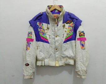 Vintage ellesse italy jacket ski wear jacket white hidden hood multicolor jacket winter sportwear