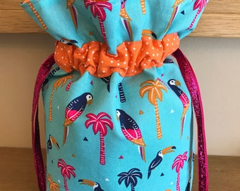 Small Knitting Project Bag, Knitting Bag, Crochet Bag, Drawstring Bag, Gift Bag, Fabric Bag, Storage Bag, Cosmetic Bag, Toucan, Parrot, Palm