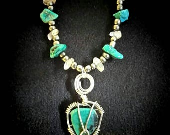 Turquoise Pendant with Crystal Quartz and Glass Beaded Necklace