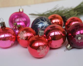 10 Soviet Vintage Christmas Tree Ornaments, red balls, pink ornaments, blue ball, USSR Christmas decorations,Christmas ornaments 24