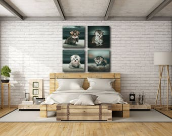 4 Kittens Square Aluminium Print Panels for Wall Art Decor made to order Lustre finish with straight edges classic style