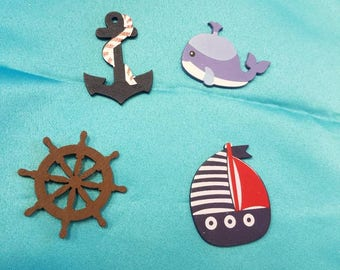 Nautica Wooden Figures, Baby Shower Supplies, Sailor Party, Sail Boats,