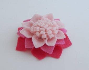 Felt Dahlia flower hair clip/felt barrette