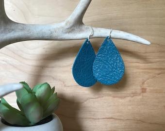 Turquoise Leather Teardrop Earrings