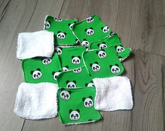Set of 11 wipes washable panda