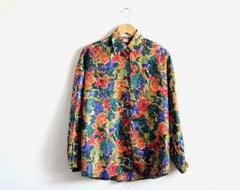 90's floral silk shirt / vintage Express blouse / silk blouse / floral blouse / floral top / oversized blouse / oversized shirt / silk top