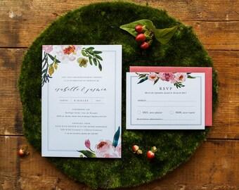 Invitation printable floral wedding Invitation & RSVP, watercolor, blush, white