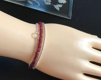 Red Garnet Bracelet, Sterling Silver, Red Gemstone Bracelet, Sterling Silver Bracelet, Stacker Bracelet,