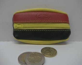 wallet with a zipper extra flat soft calfskin with 3 colors: black, red and yellow. size (10cm).
