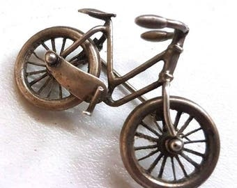 Antique Victorian Figural Articulated Bicycle Brooch Pin
