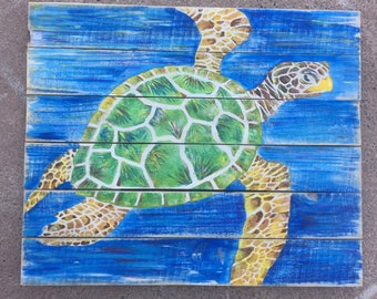 Sea Turtle Painting, Turtle art, Nautical art, Marine wall art, Ocean art, Coastal decor