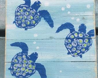 Turtle Hatchlings, Sea Turtle Art, Sea Turtle Pallet Art, Sea Turtle wood art, Turtle painting, Coral art, Coastal Decor, Beach Decor