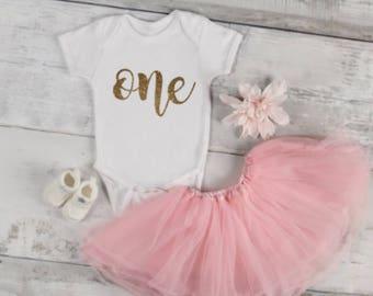 First Birthday Onesie, Girls glitter onesie, 1st Birthday outfit