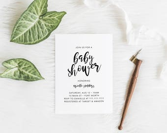 Minimalist Hand-Lettered Shower Invitation - Digital File Only