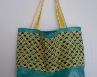 Vintage turquoise flowers tote bag yellow