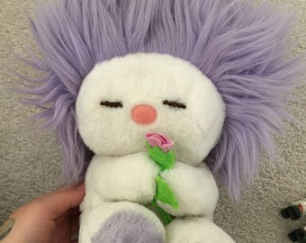 Vintage Dakin 80's Frou Frou Plush Lovey Toy Stuffed Animal Purple Lavender