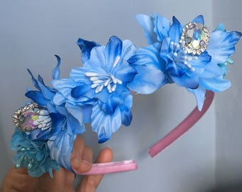 Children's Blue lily flower headband with diamanté for child or adult