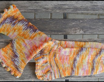handknitted socks women's size UK 5-5,5, US 7-7,5 with funny pom-poms
