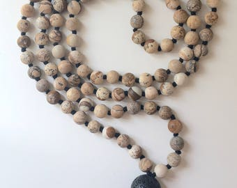 Hand knotted 108 Jasper 6mm beads Mala Necklace