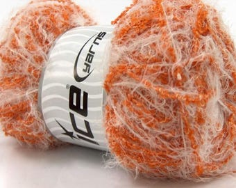 ICE TECHNO CRISP WHITE 100G FINGERING 5 //34 BROWN LUREX WOOL