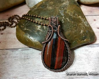 Tiger Iron Pendant Wire Wrapped, Oxidized Bare Copper Wire for an Antique Finish Look