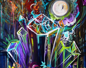 Feminine Mystique or Cthulhu Gems - Colorful Abstract Crystal Fine Art Print