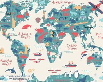Wall art map Etsy