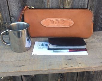 Leather Bank Bag ~ Bank Bag Leather ~ Personalized Leather Bank Bag ~ Accessory Bag ~ Personalized Leather Clutch