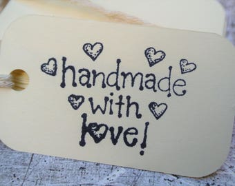 Handmade with Love Hang Tags Cream and Black Made to Order
