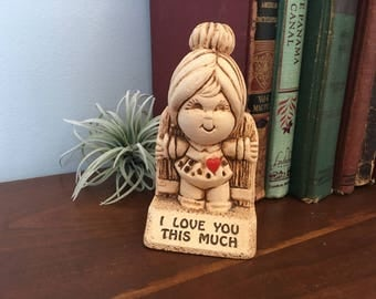 Kitschy Desk Decor I Love You 1973 Vintage Paula Figurine