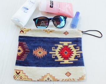 Cosmetic organiser, make up bag, Cosmetic bags, ethnic toiletry bag, cosmetic bag, travel organiser, zipper pouch, toiletry bag, boho bag