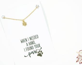Gold paw bracelet | paw print bracelet, animal bracelet, minimalist bracelet, gift for her, quote card, dog, cat, animal, gift, bohemian