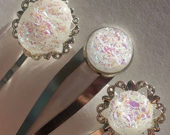 Double fused all white set of sparkly dichroic filigree hair pins and hair clip