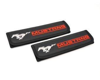 Ford Mustang - 2 pcs. Car Seat Belt Shoulder. Car Seat Strap Covers, Padded Strap Covers, Reversible Strap Covers.